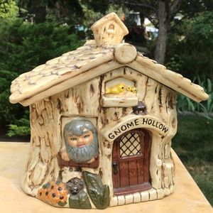Vintage ceramic cookie jar gnome hollows cottage